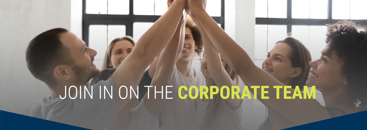 group of people high five in gym with caption join in on the corporate team