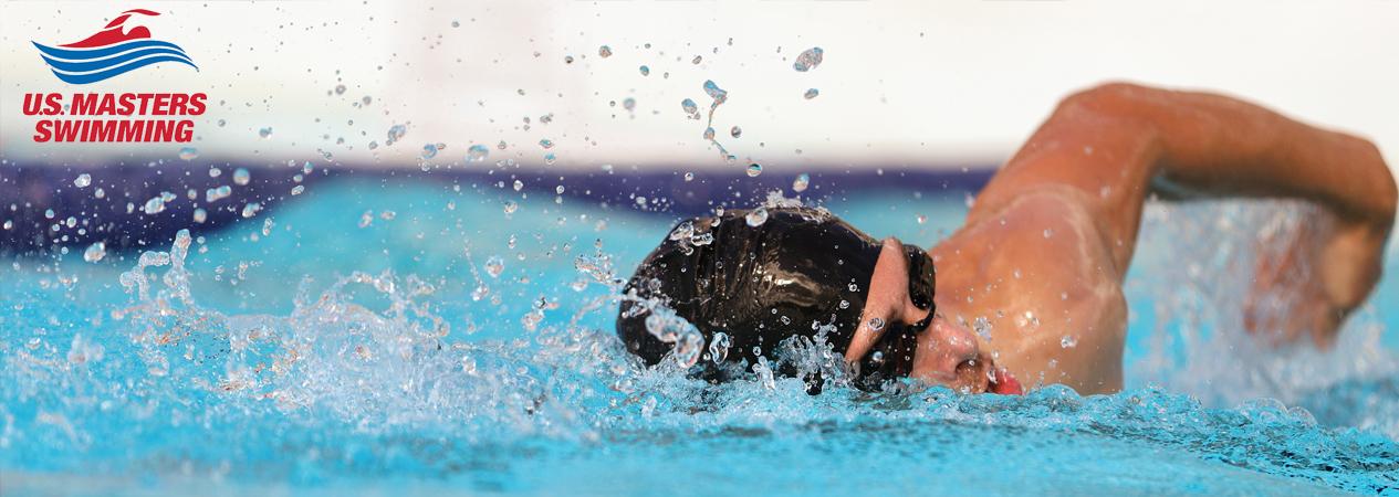 Man swimming laps with US Master Swimming logo